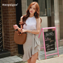 a2fff9840466 Plus Size 2 Piece Set Women Summer Suits O-neck Sleeveless Chiffon Tops and MIni  Skirt Set Solid Women Two Piece Set Clothes