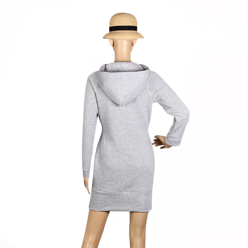 Warm Winter High Quality Hooded Dresses Pocket Long Sleeved Casual Mini Dress Sportwear Women Clothings LX130 9