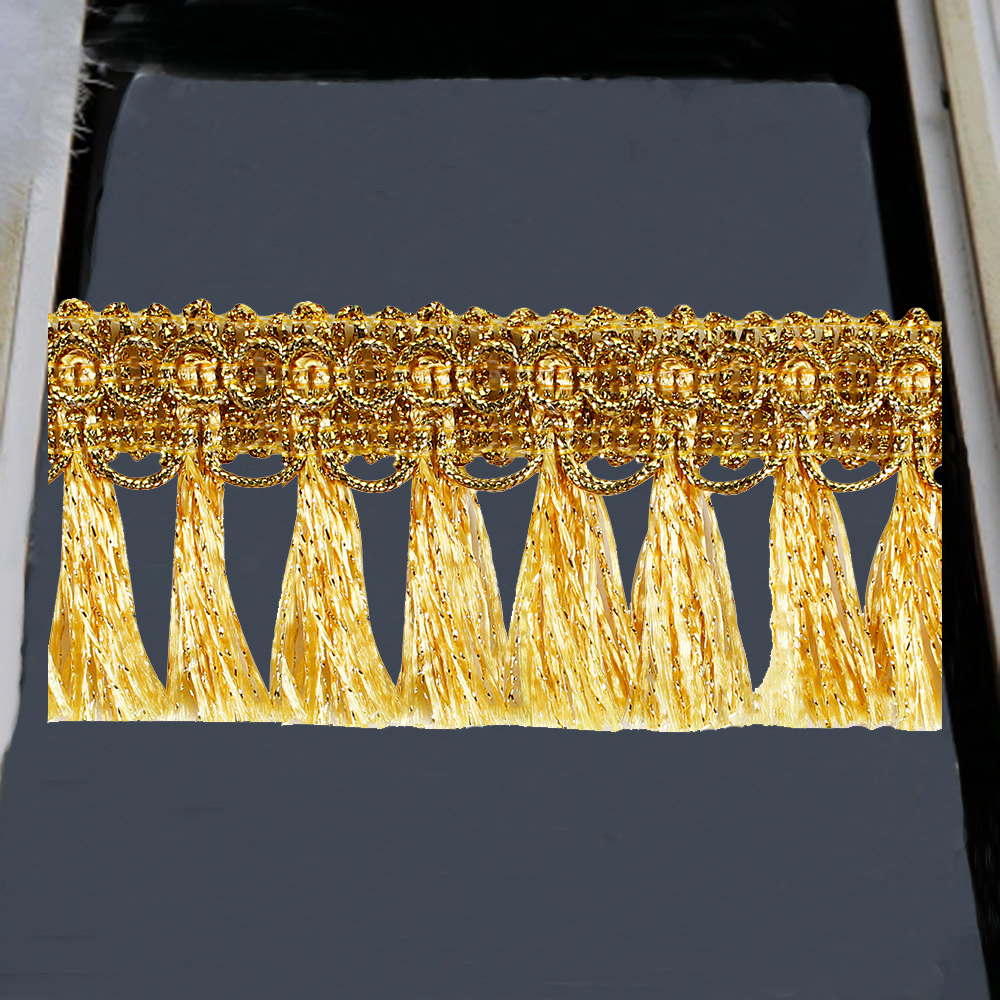 10y Gold Silver Braided Fringe Tassel Lace Ribbon Trim  Band Trimming DIYfor Clothes Curtain Decorated Sewing Accessories T2729