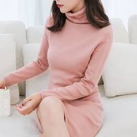33ccca9ef Women Dresses Sweater 100 Goat Cashmere Knitted Pullovers Winter New  Fashion Turtleneck Female Jumper Pure Pashmina