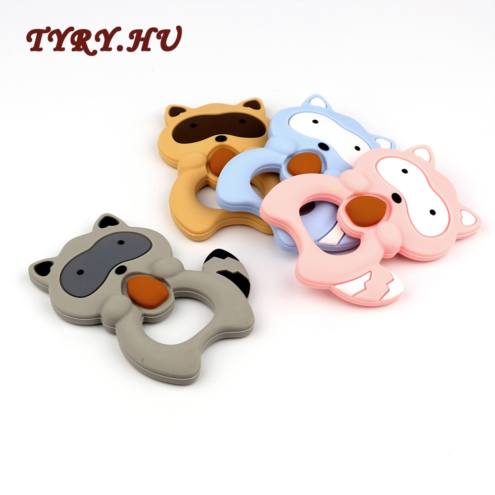 TYRY.HU Raccoon Teether Silicone Teething Beads Rubber Teething Ring For Baby Pendant Toys With Rope 1pcs Nursing Baby Teethers цена 2017