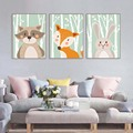 Forest animals cartoon wall art poster and print canvas painting for kids nursery bedroom modular wall picture home decor murals