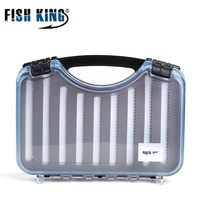 FISH KING Fish Lures Waterproof Hard Plastic Cases Double Sided Fly Fishing Accessories Storage Case Bait Tools