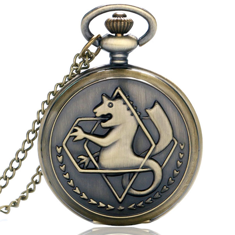 Silver/Bronze Tone Fullmetal Alchemist Pocket Watch Cosplay Edward Elric Anime Design Pendant Necklace Chain Boys Christmas Gift