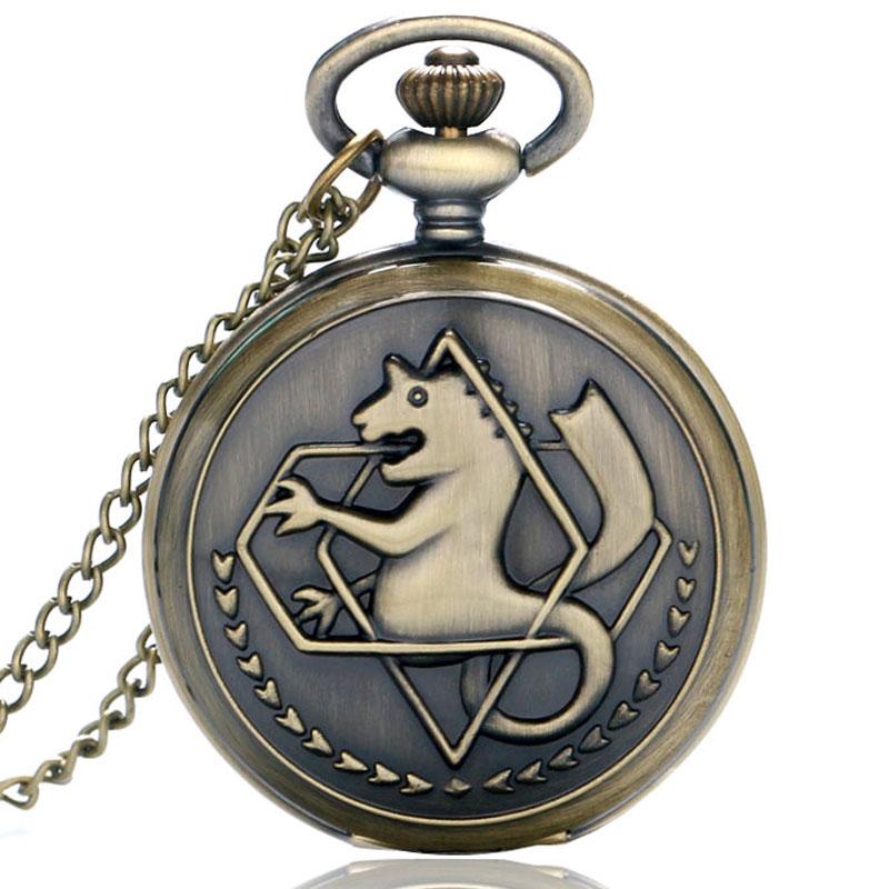 Silver/Bronze Tone Fullmetal Alchemist Pocket Watch Cosplay Edward Elric Anime Design Pendant Necklace Chain Boys Christmas Gift