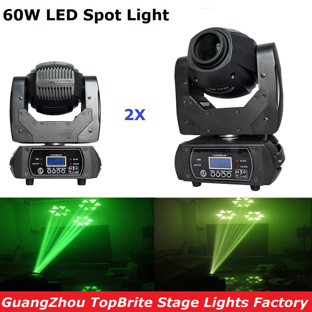 2XLot LED Spot Moving Head Light 60W Led Moving Head Beam Spot Stage Lighting 10/12 Channels For Professional Stage Disco Lights 2xlot led moving head spot lights 330w led lamp high power professional led moving head light lcd display 5 35 motorized focus