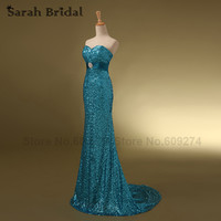 Luxury Gold Sequin Evening Dresses 2015 Silver Mermaid Elegant Prom Dress Sweetheart Court Train Long Party
