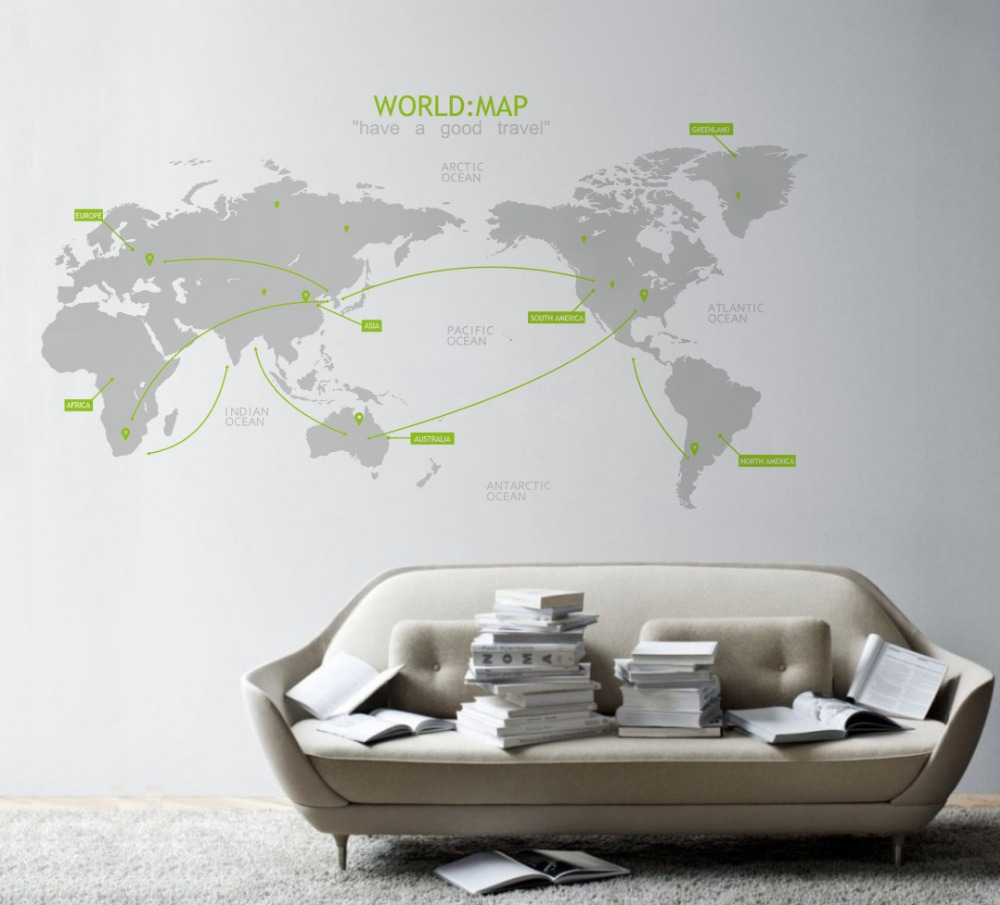 office world map office wall decal world map decal p