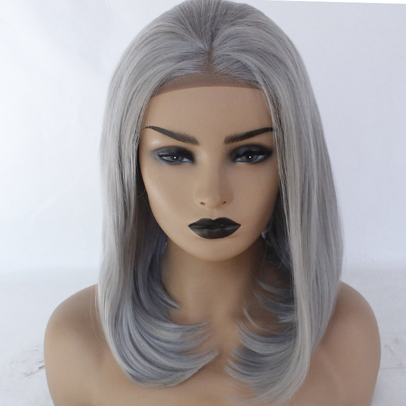 caa5e37ed Glueless Synthetic Lace Front Bob Wig Reddish Silver Grey Short Hair Style  Straight Replacement Wig Heat