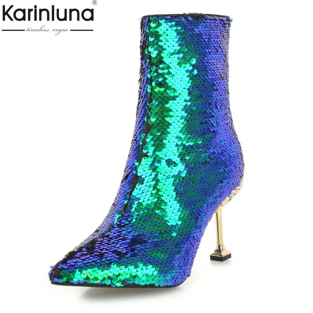 Karinluna Large Size 32-43 sexy Add Fur Winter Boots Woman Shoes Boots Zip Up High Heels party Ankle Boots Shoes Woman цена