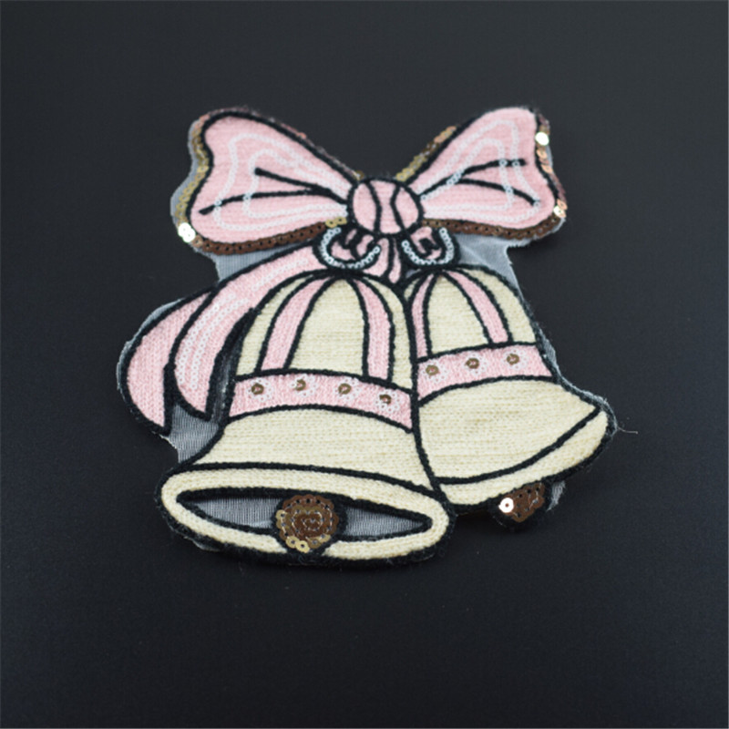 Fashion sequins Icon 22cm christmas bell patches for clothing embroidery biker patch diy applique clothes t shirt women stickers