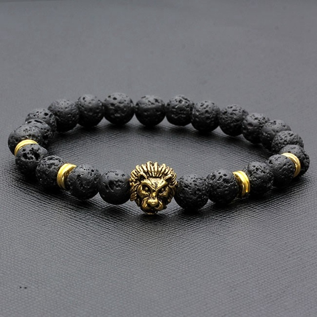 4b68dde7c 1 pc New Fashion Men's Black Lava Stone Gold&Silver Lion Beaded Charm Bangle  Bracelet Nice Gift
