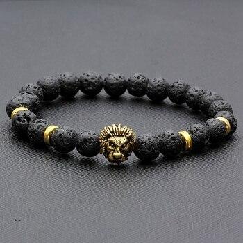 """Bracelet """"Force & Vigueur du Lion"""" en Pierres de Lave"""