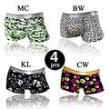 4pcs/Lot Plus Size Ice Silk Seamless Underwear Men Boxers Shorts Sexy Mens Boxer Cueca Underpants Gay Underwear Cuecas L XL XXL