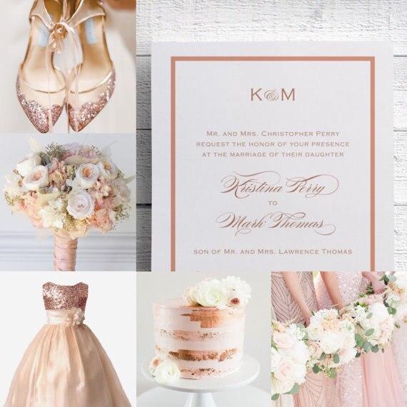 Elegant Rose Gold Foil Print Wedding