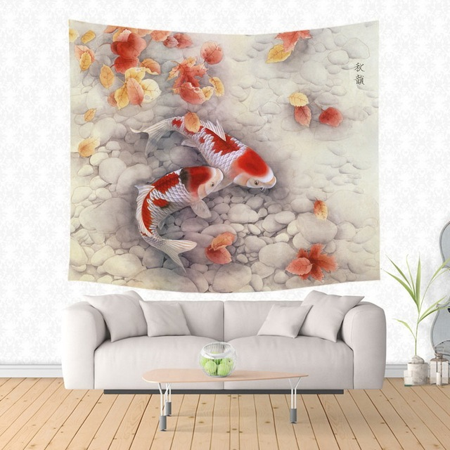Fancy Carp Koi Tapestry Wall Hanging Customized Bedspread Bedsheets Dorm Cover Home Art Room Rug