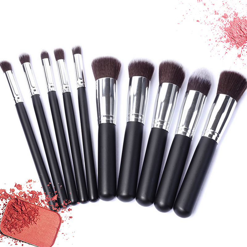 Sale Professional 10 pcs Synthetic Kabuki Makeup Brush Set Cosmetics Foundation blending blush makeup tool