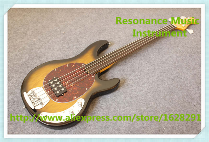 New Arrival China Fretless 4 String Music Man Electric Bass Guitar In Vintage Sunburst For Sale baseball jersey 52 baez pedro baez jersey
