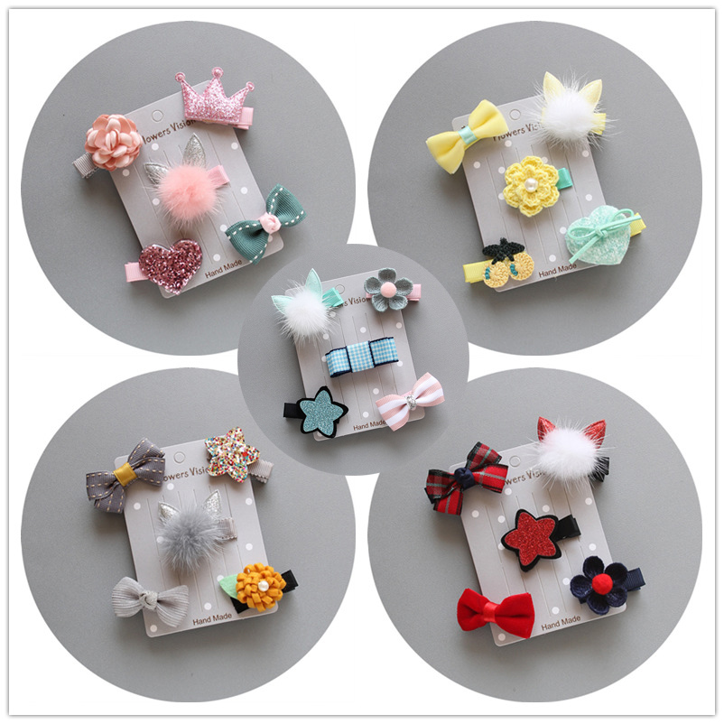 5pcs / set Flower Vision Pet Dog Hairpin Set Teddy Poodle Dog Clip Set Accessori per capelli Hairpin pet nuziale copricapo
