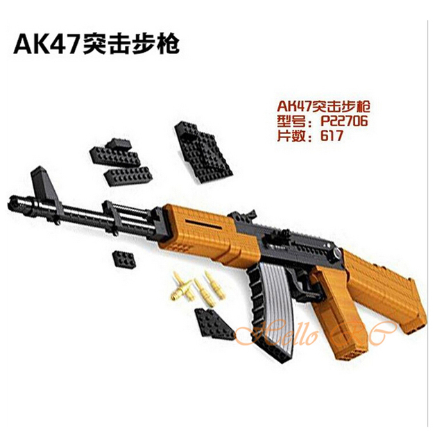 US $55 56  AK47 Assault Rifle Building Blocks Toys 617pcs P22706  Educational DIY Assemblage Bricks Compatible with Lego LR 438-in Blocks  from Toys &