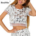 RealShe T Shirt Women 2017 New Summer Style Harajuku Sequins Short Sleeve Crop Top Blusa Sexy Tshirt Women Casual Cropped Tops