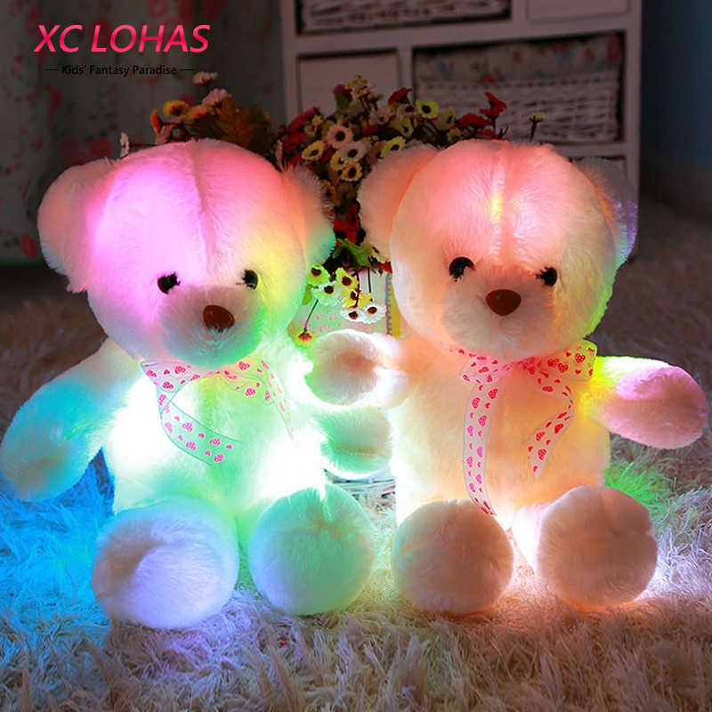 45cm Colorful Glowing Soft Stuffed Plush Toy Bear Pillow Flashing LED Light Luminous Bear Doll Toys Baby Birthday Gift for Kids 65cm plush giraffe toy stuffed animal toys doll cushion pillow kids baby friend birthday gift present home deco triver