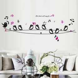 1 шт. двойной Съемный ежедневно Водонепроницаемый пение птиц PVC стены наклейки Home Гостиная дети Спальня декоративные наклейки