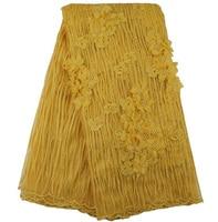 Miễn phí vận chuyển (5 yards/pc) hottest bán vàng Châu Phi vải tuyn vải ren fancy 3d hoa và hạt phù hợp ren Pháp FLE65