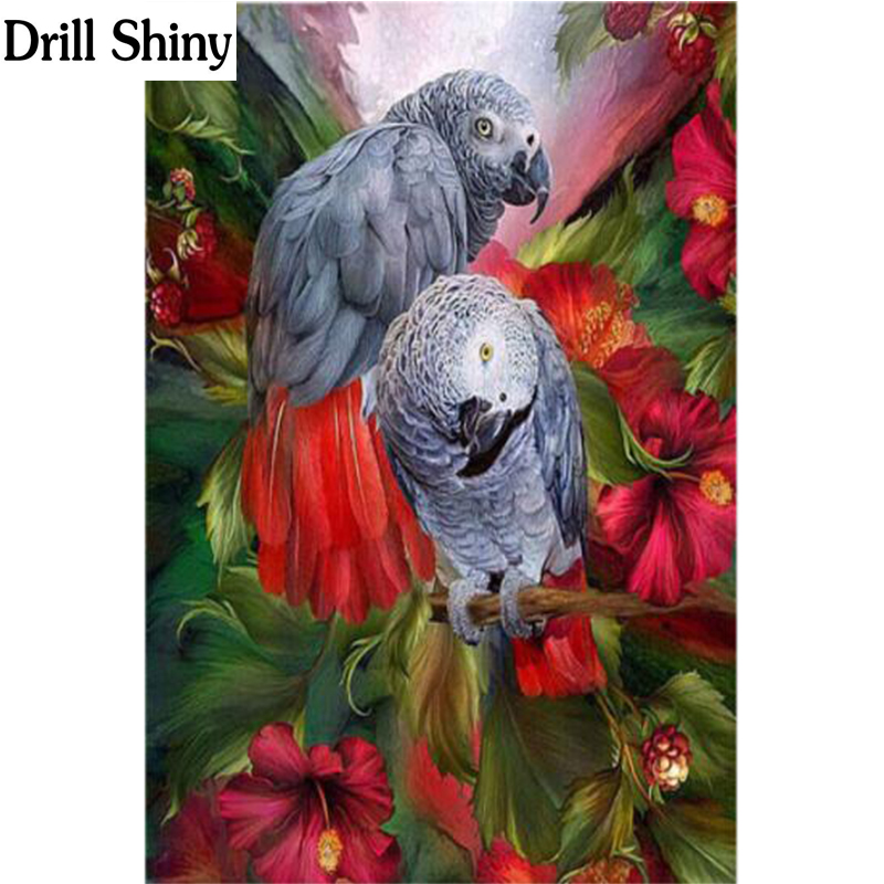 Needle Arts & Crafts 5d Diy Diamond Painting Bird &flower Cross Stitch Lover Parrot Needlework Home Decorative Full Square Diamond Embroidery Fc371 Diamond Painting Cross Stitch