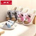 Oso lindo Del Bebé Niños Zapatillas Niños Zapatos Caseros Para Niños Niñas Dormitorio Indoor Zapatillas de Algodón Inferior Suave Del Bebé Primavera Verano
