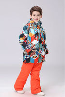 2016 children's geometry ski suit boys snowboarding suit kids skiing jackets and pants male child skiwear snow suit snow wear