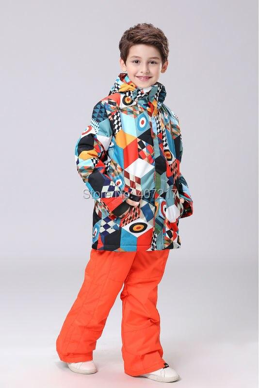 2016 combinaison de ski géométrie enfants garçons combinaison de snowboard enfants vestes et pantalons de ski homme enfant skiwear combinaison de neige vêtements de neige