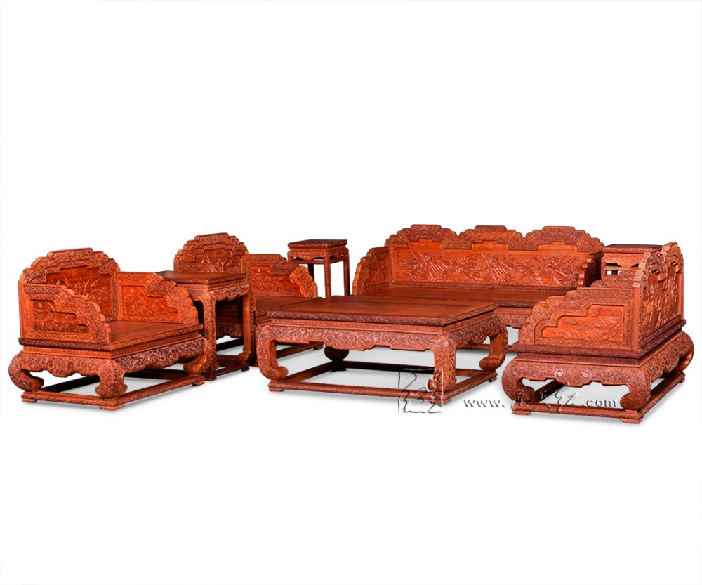 8 Pieces Sofa Bed Suit 1+2+3 Seats Living Room Rosewood Luxurious Furniture Chinese Modern Wooden Excellent Carving Table Suit