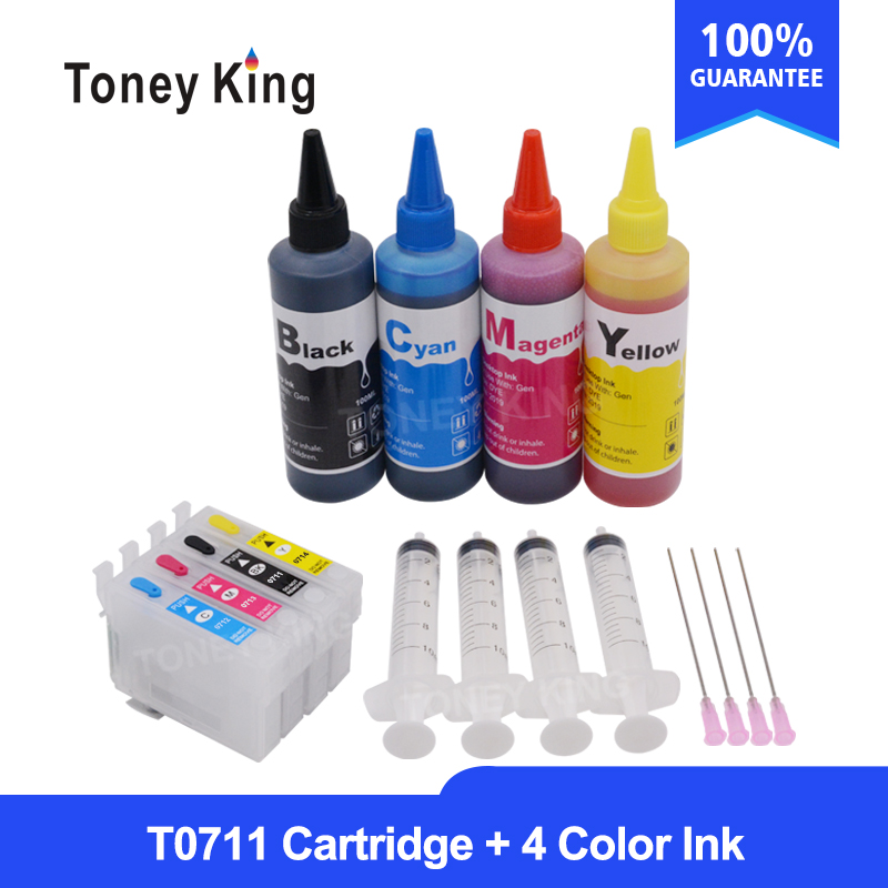 T0715 For <font><b>Epson</b></font> Stylus Office B40W <font><b>BX300F</b></font> BX300FW BX310FN Printer T0711 - 4 Refillable Ink Cartridges + 4 Color 100ml Refill Ink image