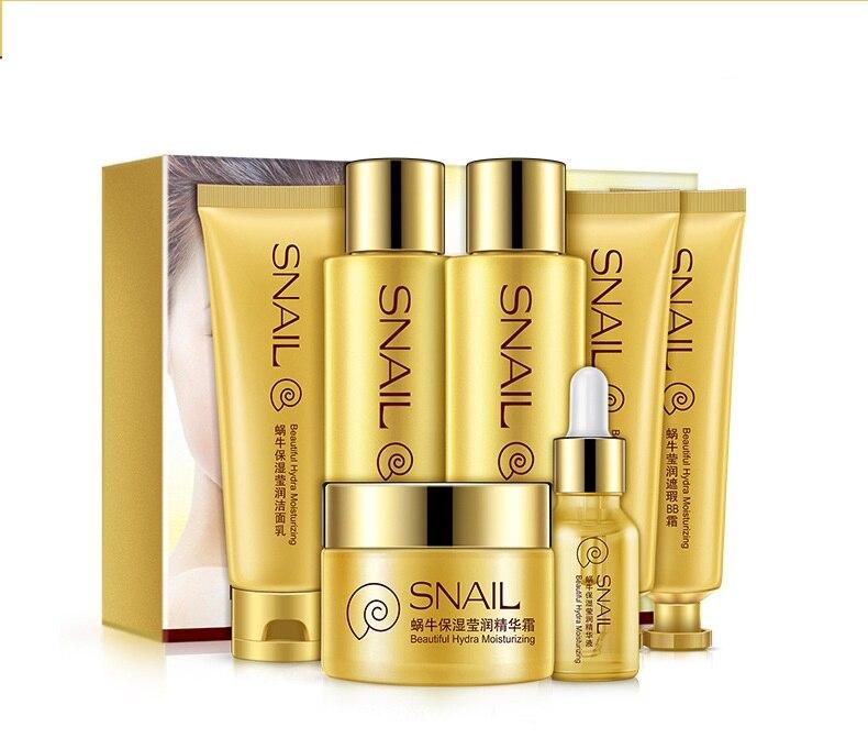 купить Bioaqua 7pcs set snail moisturizing shiny new tender and beautiful skin pores Moisturizing Facial Care Set по цене 2209.92 рублей