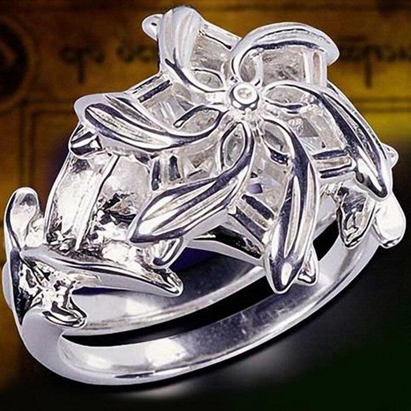 Fine Jewelry Femmes 100% Réel 925 Soild Sterling Argent anneaux SEIGNEUR DES anneaux Le Galadriel Nenya Zircon Ennagement Bague De Mariage