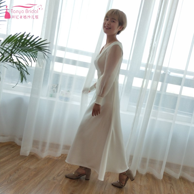 2018 Fashion Simple Beige Wedding Dresses Full Sleeve: Simple Soft Satin Wedding Dresses 2018 Korea Fashion Long
