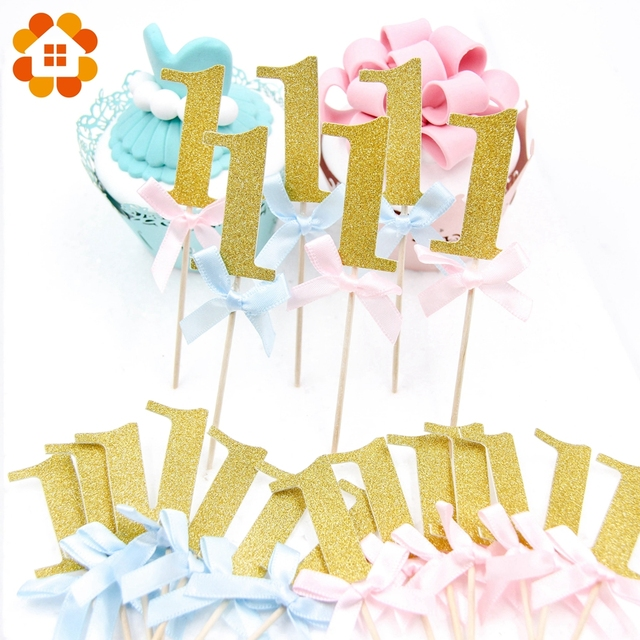 10pcslot Gold Number 1 Birthday Cake Topper Baby Shower 1st