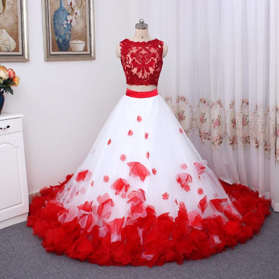 3D Flower Bohemia White Red Lace Tank Wedding Dresses Beach Two Pieces Beach Wedding Gowns Vestido De Noiva Buttom Romantic