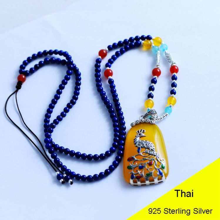 925 Sterling Silver Women Lapis Beads Yellow Chalcedony Peacock Pendant Necklace Rope Chain Thai Silver Choker Jewelry CH057272 925 sterling silver women lapis beads yellow chalcedony peacock pendant necklace rope chain thai silver choker jewelry ch057272
