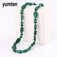 Yumten Short Nature Stone Necklace Women Malachite Necklace Charms Lot Water Drop Women Fine Jewelry Bijoux