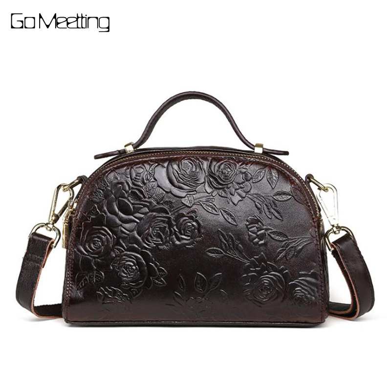 Vintage Women Embossed Flower Shoulder Bags Female Vintage Messenger Bag High Quality Genuine Leather Ladies Small Handbag Flap high quality genuine leather women backpacks female embossed flower backpack school bag vintage coffee ladies travel bags l0244