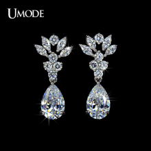 UMODE Rhodium plated Dangle Earrings Fashion Jewelry 3ct CZ  Flower Shaped Drop Earrings For Women Brincos AUE0030