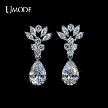 UMODE Brand Crystal Dangle Earrings Fashion Jewelry 3ct CZ Flower Shape Drop Earrings For Women White
