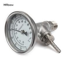Монитор термометра In line, монитор чиллера для пивоварения, тройник NPT 1/2 дюйма, штуцер для шланга 1/2 дюйма, биметаллический термометр с 3 дюймовым циферблатом и зондом 2 дюйма