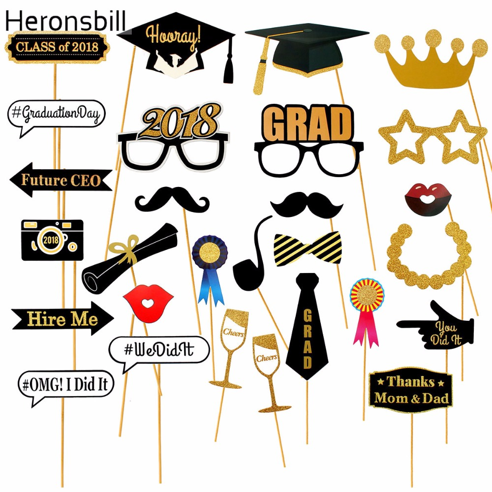 Heronsbill 28pcs photo booth props graduation party for Decoration 2018