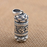 FNJ 925 Silver Cylinder Pendant Gawu Box Bottle Lotus 100% Pure S925 Solid Thai Silver Pendants for Women Men Jewelry Making