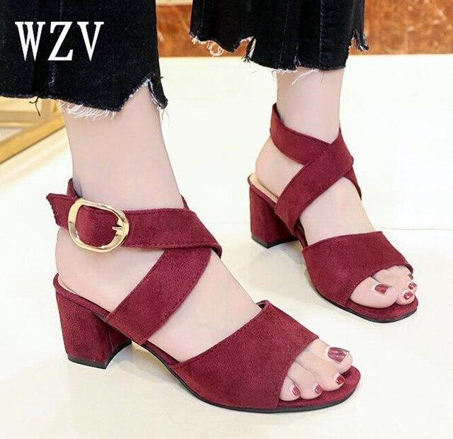 Женские босоножки Лето 2018 Для женщин с открытым носком пряжки Повседневная обувь Женская мода на толстом высоком каблуке сандалии B333