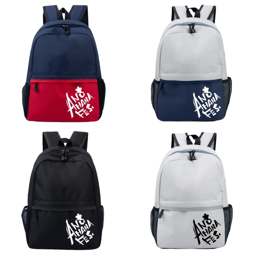 Fashion Backpack Anime Anohana: The Flower We Saw That Day Cosplay Satchel Student School Bag Travel Rucksack Anime Bag COOL