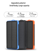 Solar Power Bank Waterproof 20000mAh Charger 2 USB Ports External Powerbank for Smartphone with LED Light